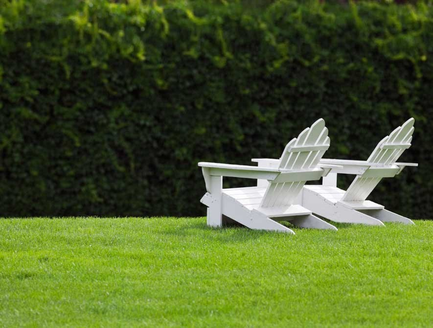 Adirondack chairs on a pristine green lawn.